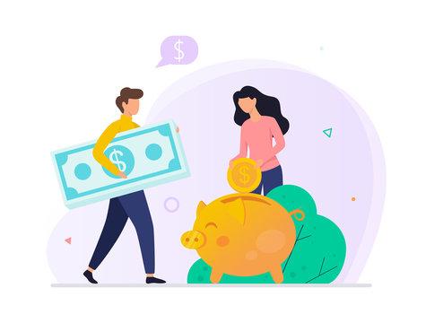 Money putting inside the piggy bank