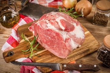 Raw pork shoulder.