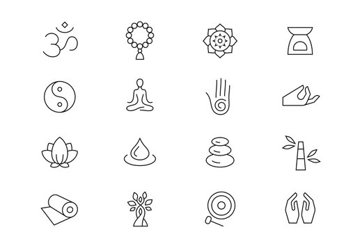 Meditation and yoga retreat thin line vector icons. Editable stroke