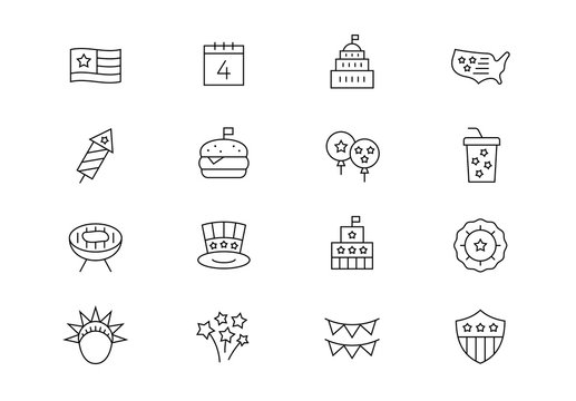 USA Independence Day celebration thin line vector icons. Editable stroke