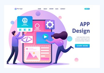 Young people are engaged in mobile application design, website pages development. Flat 2D character. Landing page concepts and web design Fototapete