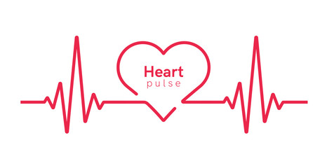 Heart pulse. Heartbeat line, cardiogram. Red and white colors. Beautiful healthcare, medical background. Modern simple design. Icon. sign or logo. Flat style vector illustration.