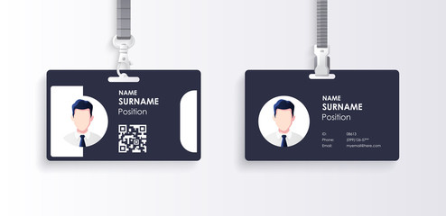 Horizontal id card template with clasp and lanyard. Blue and white color mock up set. Modern colorful icon collection. Employee ID. Simple realistic design. Cute cartoon style. Flat style illustration Wall mural