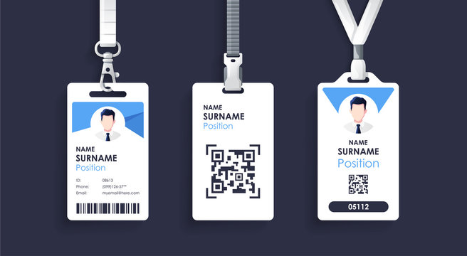 Vector id card template with clasp and lanyard. Blue and white color mock up set. Modern colorful icon collection. Employee ID. Simple realistic design. Cute cartoon style. Flat style illustration.