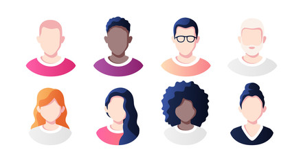 People avatars set isolated on a white background. Profile picture icons. Male and female faces. Cute cartoon modern simple design. Beautiful colorful template. Flat style vector illustration.