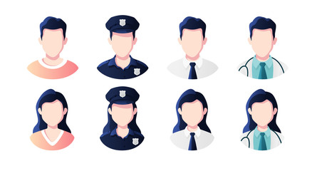 Profession, occupation people avatars set isolated. Policeman, doctor, office worker. Profile picture icons. Male and female faces. Cute cartoon modern simple design. Flat style vector illustration.