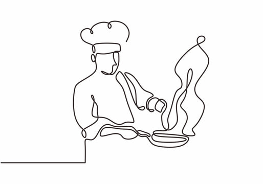 continuous line drawing of chef cooking big meal food vector illustratiom