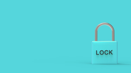 """pad lock azure padlock with word """"lock"""" on metal on a blue background. online security. safe personal online privacy security, 3d render isolated illustration. HD"""