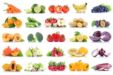 Wall Mural - Fruits vegetables collection isolated apple apples oranges bell pepper grapes tomatoes banana colors fresh fruit