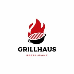 fire grill logo vector icon illustration