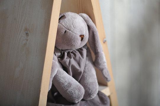 Children's soft toy rabbit sits on a wooden shelf, close-up