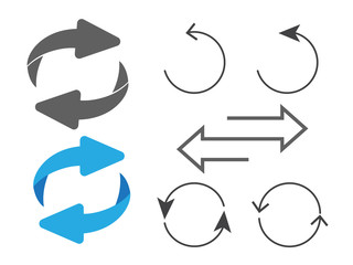 Rotating, circular, cyclic arrows. Recurrence sign. Flip over or turn arrow. Reverse sign