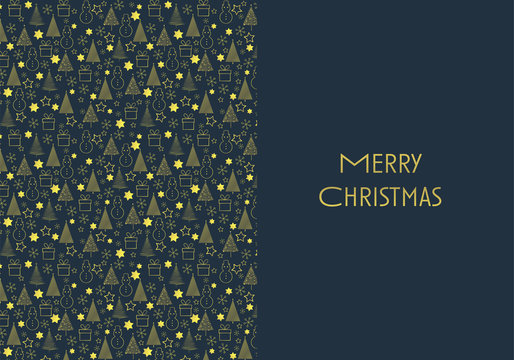 Christmas card or postcard vector template with stars, xmas trees and snowman pattern and gold glittery design on dark blue background.
