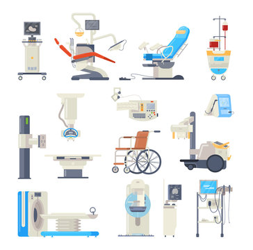 Set of hospital medical equipment. Medical devices. Health system, monitoring.
