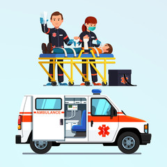 Paramedics emergency rescue team giving first aid