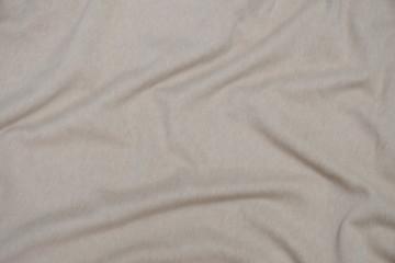 Soft focus white linen sack craft art design. Texture of woolen fabric with beige linen. Background, pattern
