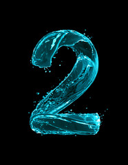 Fototapete - Number 2 made of turquoise splashes of water on black background