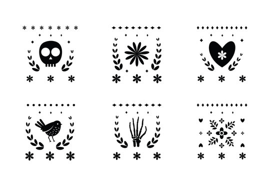 Mexican decorative ornament graphic designs for Day of the Dead.