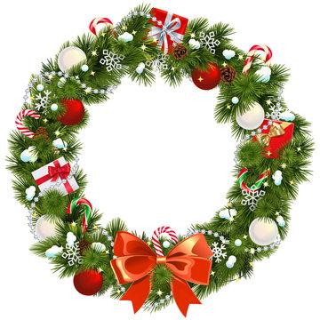 Vector Snowy Christmas Wreath