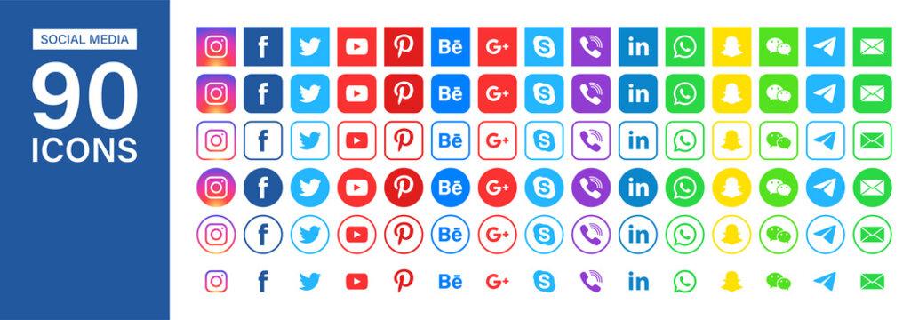 Facebook, instagram, twitter, youtube, pinterest, behance, google, skype, viber, whatsap, linkedin, telegram, wechat. Editorial vector. Vinnitsa, Ukraine - October 7, 2019