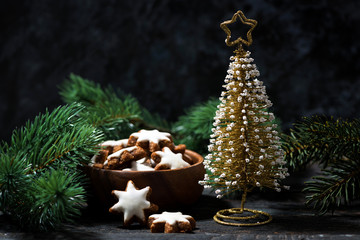 decorative christmas tree and gingerbread cookie