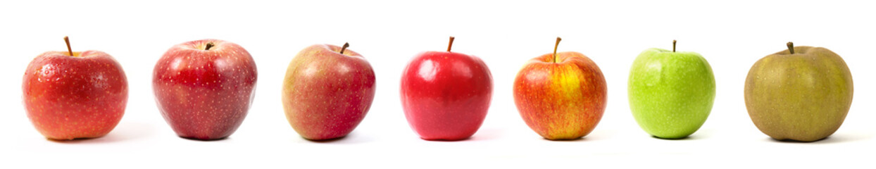différentes sortes de pommes sur fond blanc