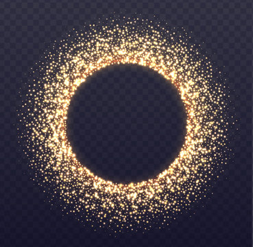 Glowing circle frame with sparkles. Flying golden dust isolated on transparent background. New Year, Christmas, wedding, party design element.