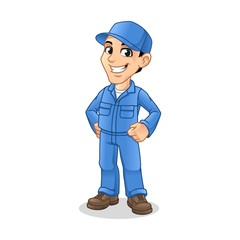 Mechanic Man with Hands On Hips Gesture Sign for Service, Repair or Maintenance Mascot Concept Cartoon Character Design, Vector Illustration, in Isolated White Background.