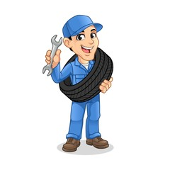 Mechanic Man Carrying The Tire with Holding a Wrench in The Other Hand for Service, Repair or Maintenance Mascot Concept Cartoon Character Design, Vector Illustration, in Isolated White Background.