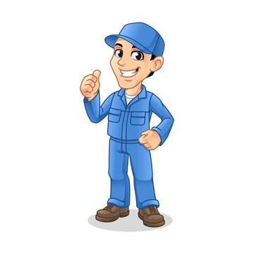 Mechanic Man with Thumbs Up Hand Gesture Sign for Service, Repair or Maintenance Mascot Concept Cartoon Character Design, Vector Illustration, in Isolated White Background.