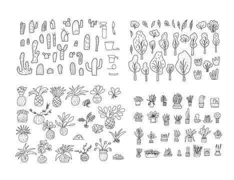 Set of doodle icon. Hand drawn illustration.