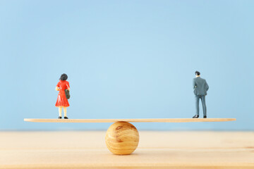 Concept of gender equality, male and female standing next to each other