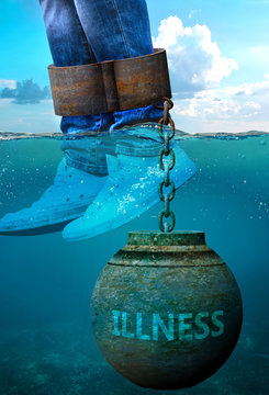 Illness can be an issue and a burden with negative effects on health and behavior - Illness can be a life stigma that impacts victims life and mental well being, 3d illustration