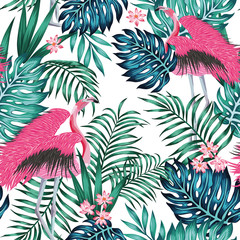 Pink flamingo tropical blue green leaves red lotus flowers seamless white background