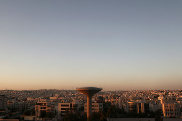 The Amman cityscape in the evening light in Amman