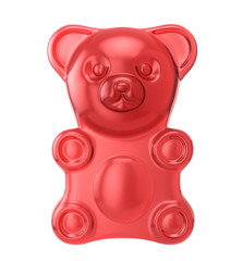 Gummy bear on a white background. Jelly bear. 3D illustration
