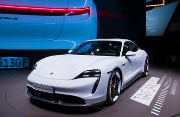 New Porsche Taycan Turbo S sports car reveiled at the Frankfurt IAA Motor