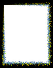 frame template with colored stars in blue and white colors with black background