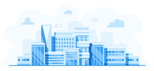 City landscape. Cityscape with buildings. Simple blue background. Urban silhouette. Line art. Beautiful template. Modern city with layers. Flat style vector illustration.