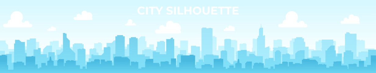 Foto auf Acrylglas Pool Seamless silhouette of the city. Cityscape with buildings. Simple blue background. Urban landscape. Beautiful template. Modern city with layers. Flat style vector illustration.