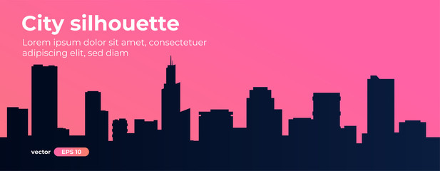 Seamless silhouette of the city. Cityscape with buildings. Simple pink background. Urban landscape. Beautiful template. Modern city with layers. Flat style vector illustration.