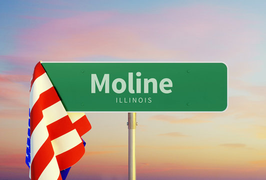 Moline – Illinois. Road or Town Sign. Flag of the united states. Sunset oder Sunrise Sky. 3d rendering