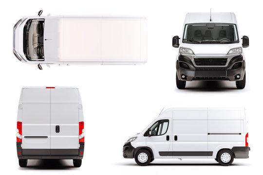 3d render of white van vehicle on white background