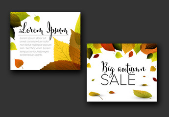 Autumn Inline Rectangle Banner Layout with Illustrative Leaves