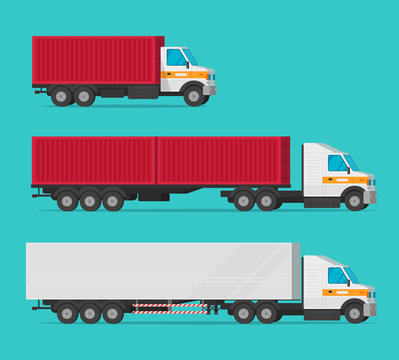 Lorry or cargo truck and delivery automobiles or vehicle with container boxes vector set, flat cartoon freight industry transport, large courier cars and big wagon vans for shipping isolated clipart
