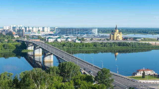 Nizhny Novgorod. Kanavinsky bridge over the Oka river in the city center