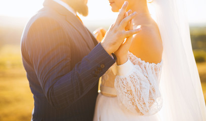 Close up image of holding hands of a bride and a groom in the sunlight.