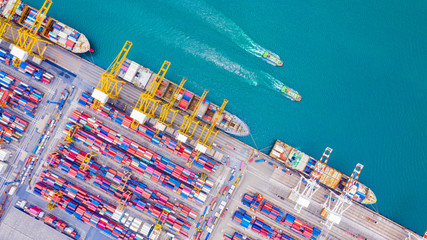 Garden Poster Shanghai Top view of Deep water port with cargo ship and containers. It is an import and export cargo port where is a part of shipping dock and export products worldwide