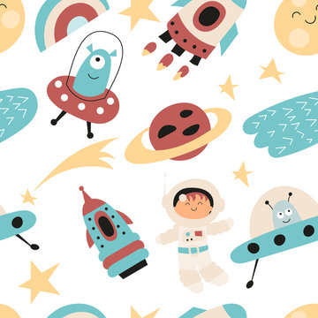 Seamless pattern with cute space characters - spaceman, alien, rocket in Scandinavian style. Vector Illustration. Kids poster for nursery design. Great for baby clothes, greeting card, wrapping paper.