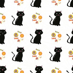 Cute black cats and multicolor candy design. Seamless geometric vector pattern on subtle spiderweb white background. Great for kids and Halloween products, giftwrap, party, invitations, stationery